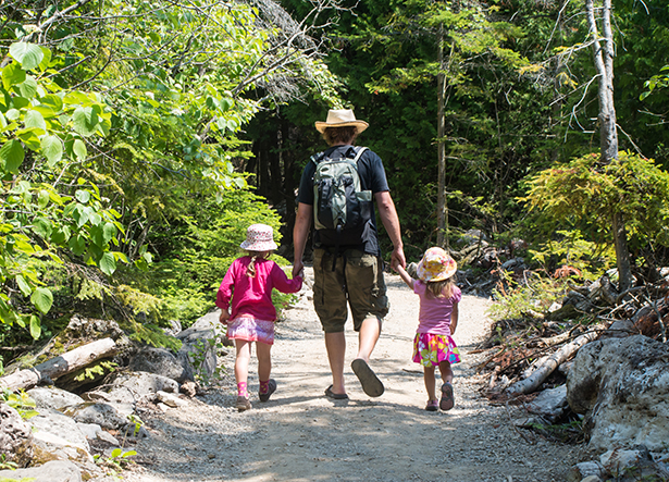 A man walks away from the camera along a path in the woods while holding the hands of two young girls.